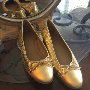 Stuart Weitzman Gold Snakeskin Ballerina Flats